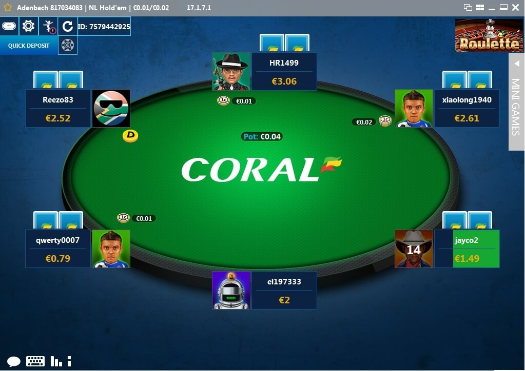 Coral Poker table