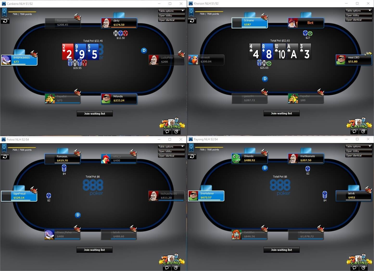 888 Poker Tables