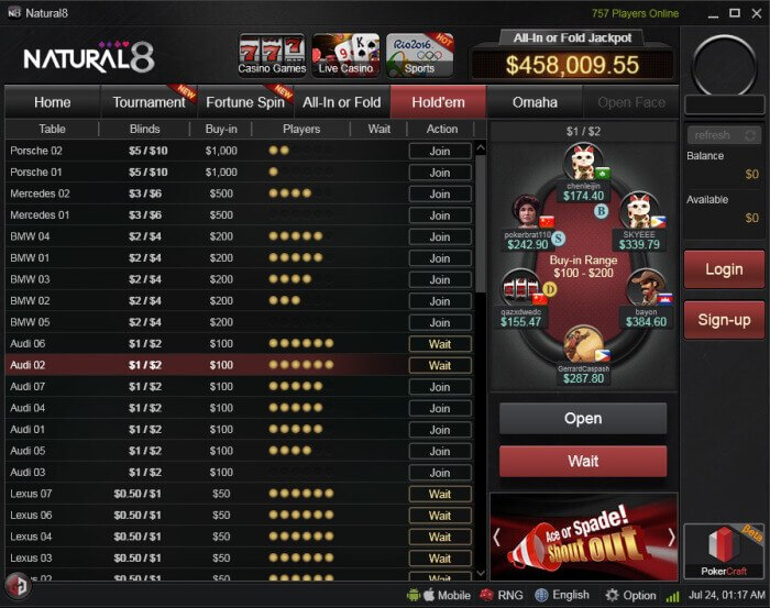 lobby de pôquer natural8