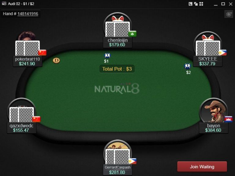 natural8 poker table