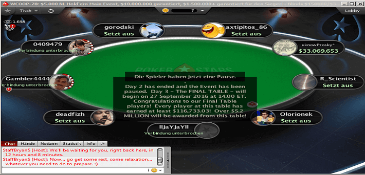 WCOOP Main Event Final Table set, watch the videos here!