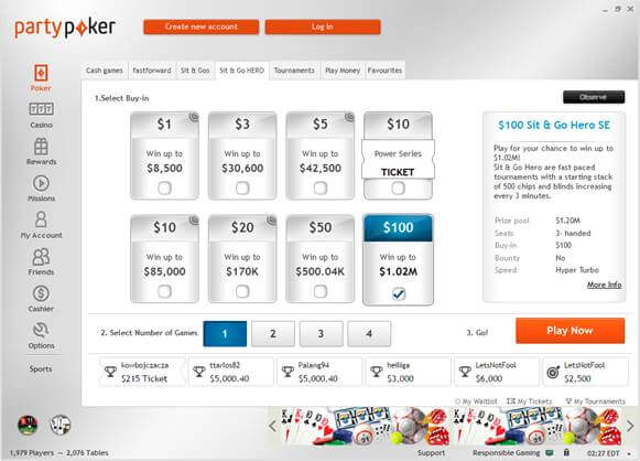 $100 Sit and Go Hero Special Edition Party Poker