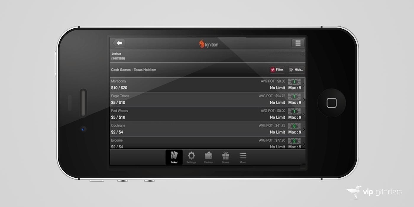 Ignition Casino Mobile Poker App Lobby