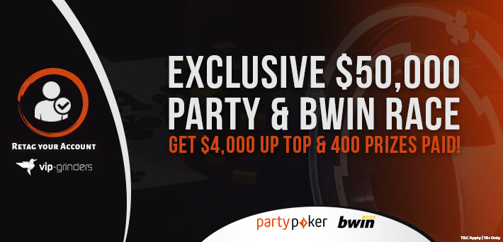 Join the biggest rake race on the internet for partypoker & Bwin with a $50,000 prize pool!