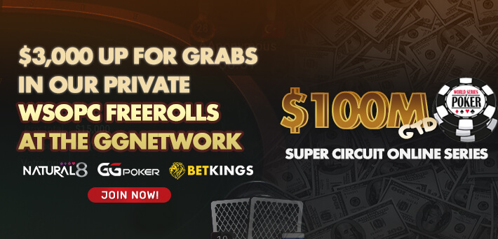 $3,000 up for grabs in our private WSOPC Freerolls at GGNetwork