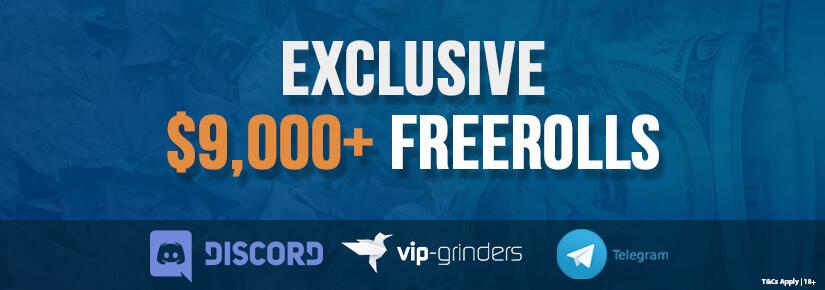 Best $9,000 Exclusive VIP-Grinders Poker Freerolls from October 4-7