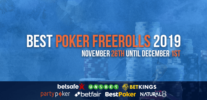 Best Poker Freerolls November 26th – December 1st 2019