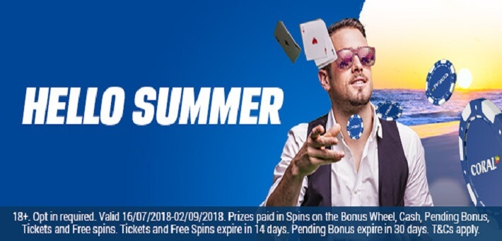 Win up to €1,000 in cash in the Hello Summer promotion at Coral Poker!