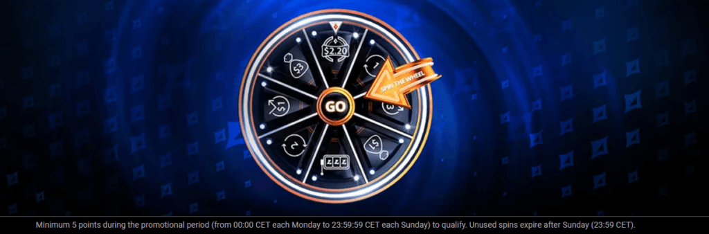 Win free cash prizes and tournament tickets by spinning the Partypoker Wheel