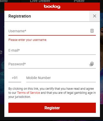 Bodog India Registration Process Step 2
