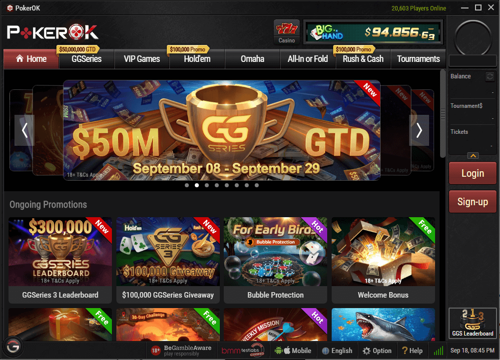 Lobby do PokerOK