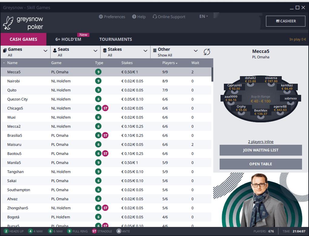 Lobby do GreySnow Poker
