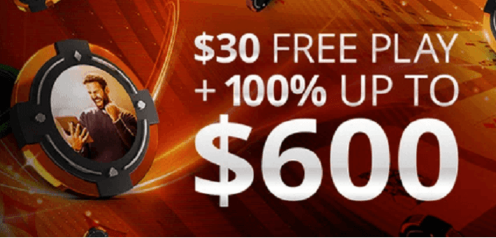New increased partypoker first deposit bonus offers 100% up to $600 + $30 Free Play