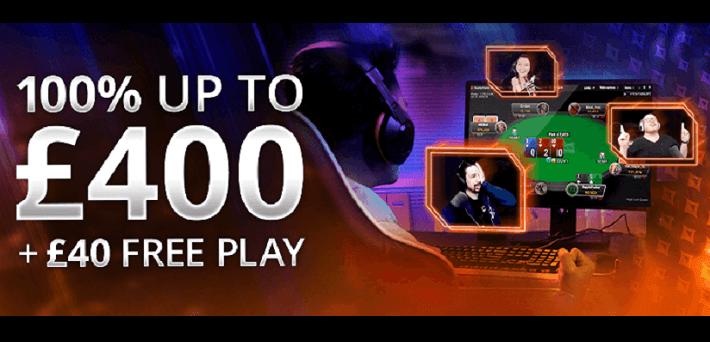 New increased UK partypoker Bonus - Claim 100% up to £400 + £40 Free Play