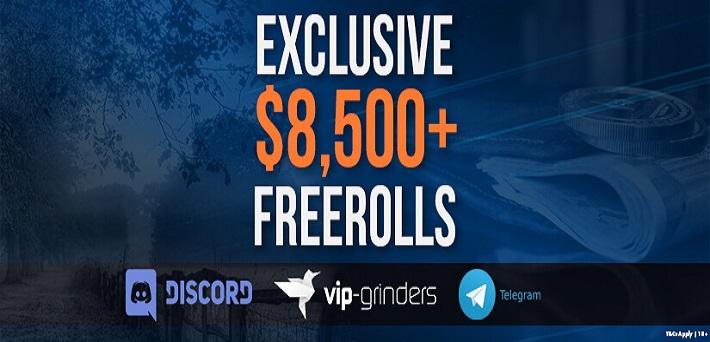 Best $8,000 Exclusive VIP-Grinders Poker Freerolls from September 6-9