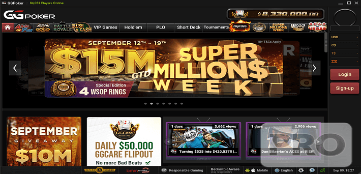 $17,000,000 GTD at the Super MILLION$ Week from September 12-19