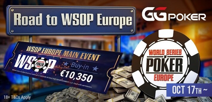 Qualify from only $25 for the WSOP Europe Main Event at GGPoker